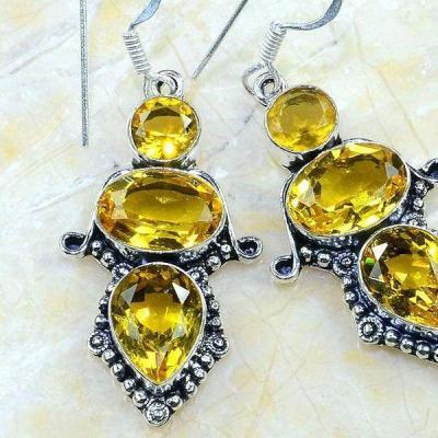 Ct 0268c boucles pendants oreilles citrine achat vente argent 925