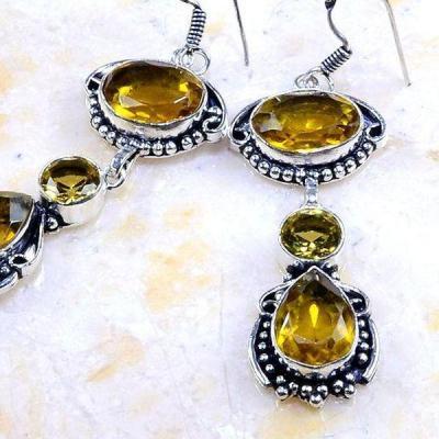 Ct 0273c boucles pendants oreilles citrine lemon doree achat vente argent 925