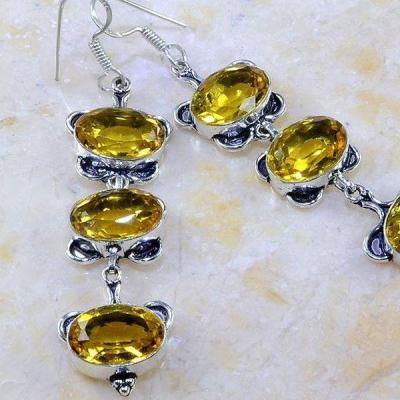 Ct 0280c boucles pendants oreilles citrine lemon achat vente argent 925