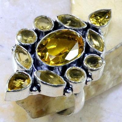 Ct 0281a bague t61 citrine lemon citron argent 925 bijoux achat vente
