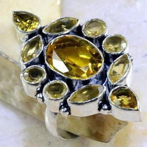 Ct 0281b bague t61 citrine lemon citron argent 925 bijoux achat vente