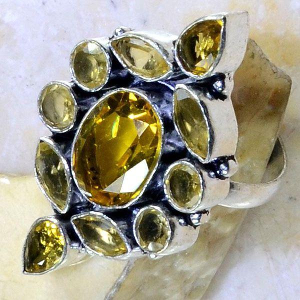 Ct 0281c bague t61 citrine lemon citron argent 925 bijoux achat vente