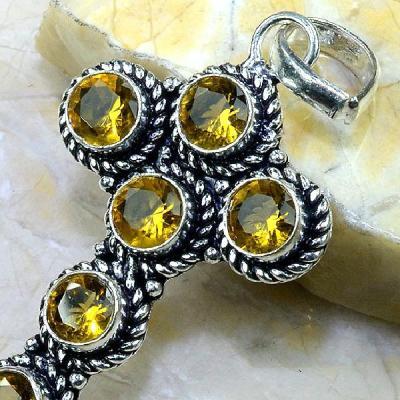 Ct 0285b croix pendentif pendant pierre taillee citrine lemon argent 925 bijoux achat vente