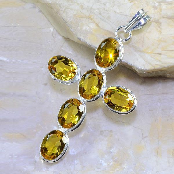 Ct 0306a croix pendentif pendant pierre taillee citrine lemon argent 925 bijoux achat vente
