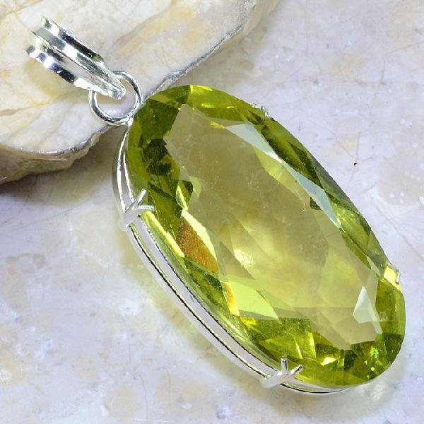 Ct 0325a pendentif pendant citrine lemmon citron vert lithotherapie bijoux achat vente