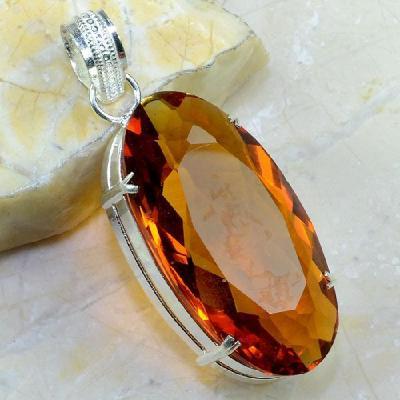 Ct 0327a pendentif pendant citrine orange madere cognac lithotherapie argent 925 bijoux achat vente
