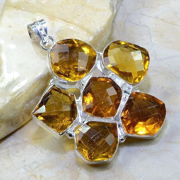 Ct 0334a pendentif pendant citrine orange doree argent 925 bijoux achat vente