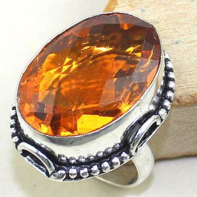 Ct 0340a bague chevaliere t60 citrine madere orange argent 925 bijoux achat vente