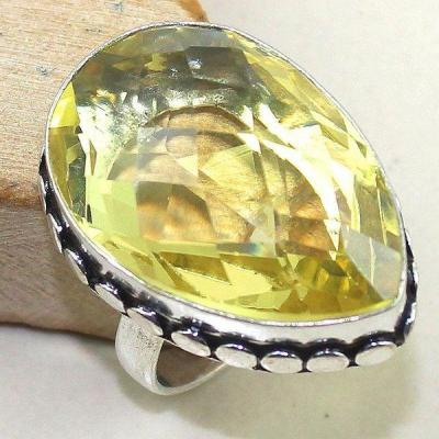 Ct 0343b bague chevaliere t60 citrine citron lemon argent 925 bijoux achat vente