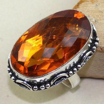 Ct 0349a bague chevaliere t58 citrine madere orange argent 925 bijoux achat vente