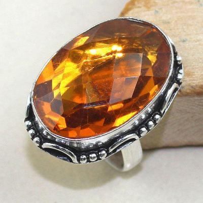 Ct 0350a bague chevaliere t58 citrine madere orange argent 925 bijoux achat vente