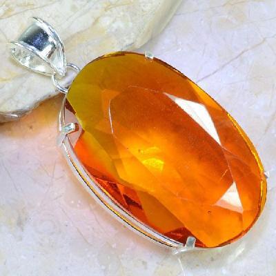 Ct 0353a pendentif pendant citrine orange doree lithotherapie argent 925 bijoux achat vente