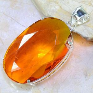 Ct 0353b pendentif pendant citrine orange doree lithotherapie argent 925 bijoux achat vente