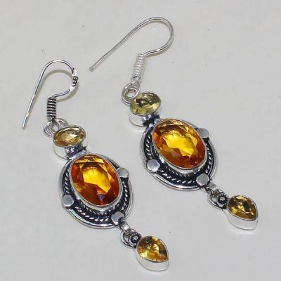Ct 0367a boucles oreilles citrine lemon citron doree lithotherapie argent 925 bijoux achat vente