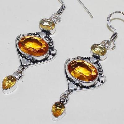 Ct 0369b boucles oreilles citrine lemon citron doree lithotherapie argent 925 bijoux achat vente