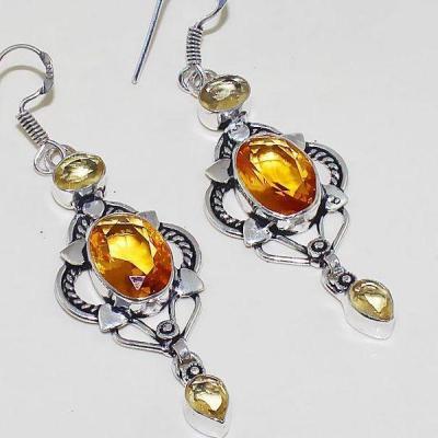 Ct 0370c boucles oreilles citrine lemon citron doree lithotherapie argent 925 bijoux achat vente