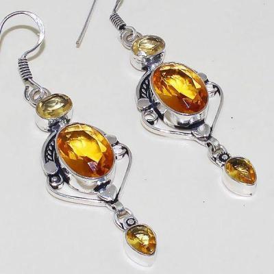 Ct 0371c boucles oreilles citrine lemon citron doree lithotherapie argent 925 bijoux achat vente