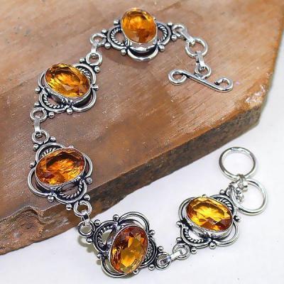 Ct 0378a bracelet citrine cognac madere orange argent 925 bijoux achat vente