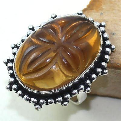 Ct 0389a bague chevaliere t59 citrine madere orange gravee argent 925 bijoux achat vente
