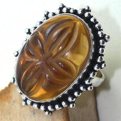 Ct 0389c bague chevaliere t59 citrine madere orange gravee argent 925 bijoux achat vente 1