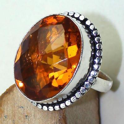 Ct 0390c bague chevaliere t57 citrine madere orange argent 925 bijoux achat vente