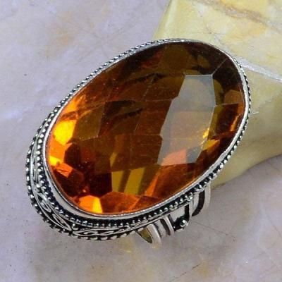 Ct 0391a bague chevaliere t58 citrine madere orange argent 925 bijoux achat vente