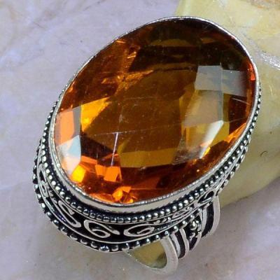 Ct 0392a bague chevaliere t57 citrine madere orange argent 925 bijoux achat vente