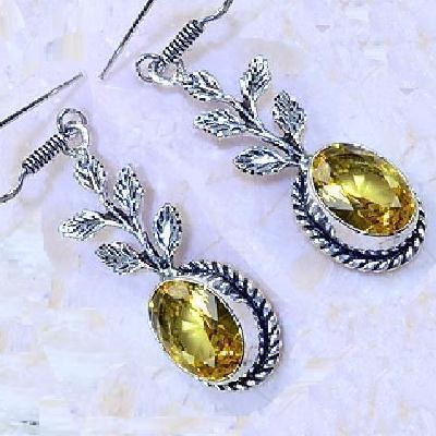 Ct 0403c boucles oreilles citrine lemon citron doree lithotherapie argent 925 bijoux achat vente