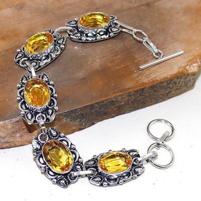 Ct 0407a bracelet citrine lemon citron doree argent 925 bijoux achat vente