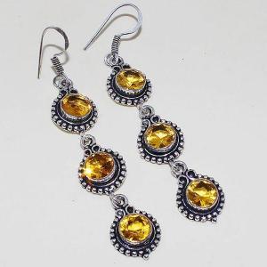 Ct 0408a boucles oreilles citrine lemon citron doree lithotherapie argent 925 bijoux achat vente