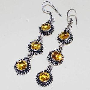 Ct 0408b boucles oreilles citrine lemon citron doree lithotherapie argent 925 bijoux achat vente