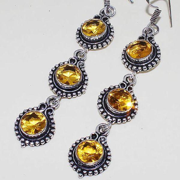 Ct 0408c boucles oreilles citrine lemon citron doree lithotherapie argent 925 bijoux achat vente