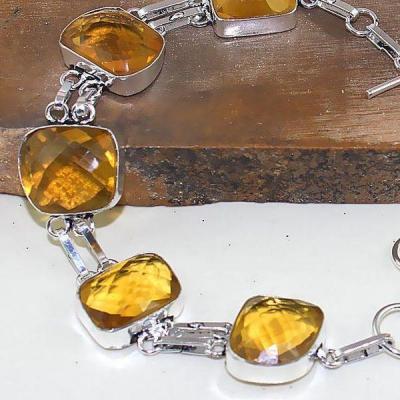 Ct 0409c bracelet citrine lemon citron doree argent 925 bijoux achat vente