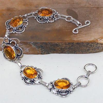 Ct 0413a bracelet citrine lemon citron doree argent 925 bijoux achat vente