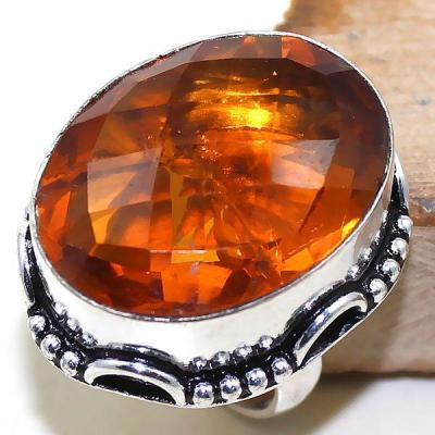 Ct 0416a bague chevaliere t55 citrine orange madere medievale argent 925 bijoux achat vente