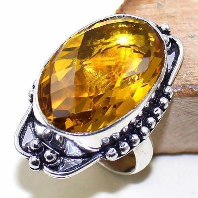 Ct 0417a bague chevaliere t57 citrine lemon doree medievale argent 925 bijoux achat vente