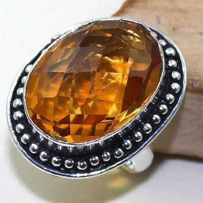 Ct 0418a bague chevaliere t59 citrine lemon doree medievale argent 925 bijoux achat vente