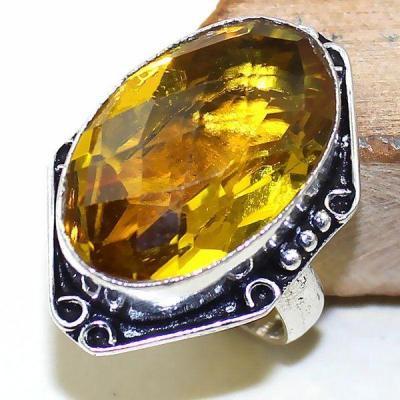 Ct 0419a bague chevaliere t60 citrine lemon doree egyptienne argent 925 bijoux achat vente