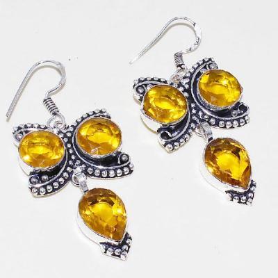 Ct 0423a boucles oreilles citrine lemon citron doree lithotherapie argent 925 bijoux achat vente