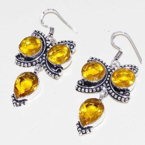 Ct 0423b boucles oreilles citrine lemon citron doree lithotherapie argent 925 bijoux achat vente