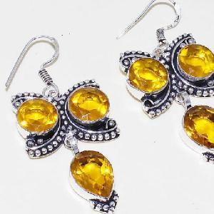 Ct 0423c boucles oreilles citrine lemon citron doree lithotherapie argent 925 bijoux achat vente
