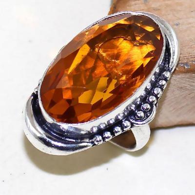 Ct 0425a bague chevaliere t57 citrine orange madere doree argent 925 bijoux achat vente