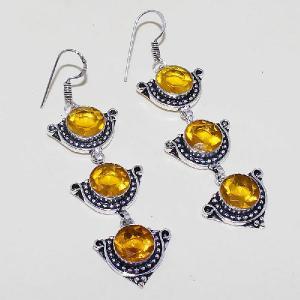 Ct 0426a boucles oreilles citrine lemon citron doree lithotherapie argent 925 bijoux achat vente