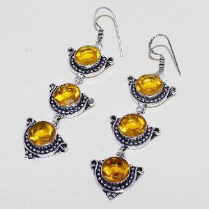 Ct 0426b boucles oreilles citrine lemon citron doree lithotherapie argent 925 bijoux achat vente