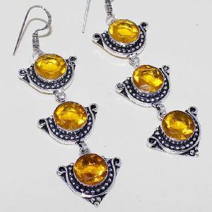 Ct 0426c boucles oreilles citrine lemon citron doree lithotherapie argent 925 bijoux achat vente
