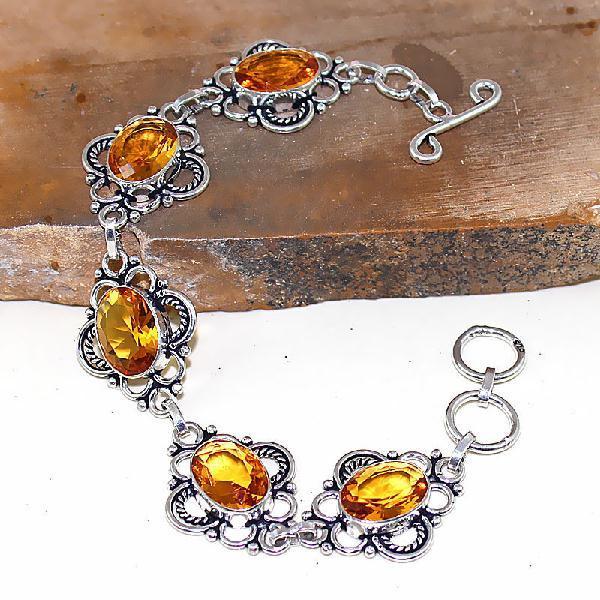 Ct 0427a bracelet citrine lemon citron doree argent 925 bijoux achat vente