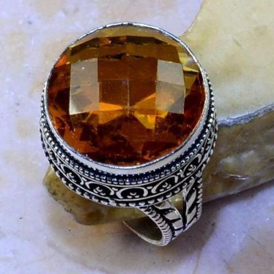 Ct 0428a bague chevaliere t62 citrine lemon doree argent 925 bijoux achat vente
