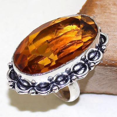 Ct 0432a bague chevaliere t57 citrine lemon doree argent 925 bijoux achat vente