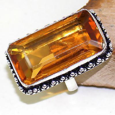 Ct 0433a bague chevaliere t57 citrine orange doree argent 925 bijoux achat vente
