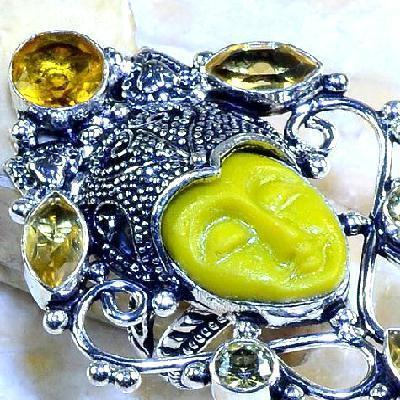 Ct 0440c bague t59 bouddha citrine gothique steampunk elfique argent 925 bijoux achat vente